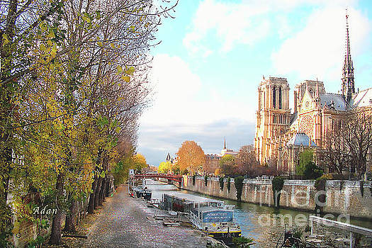Felipe Adan Lerma - The Seine and Quay Beside Notre Dame, Autumn