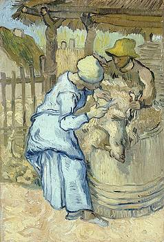 The Sheep Shearer After Millet by Artistic Panda