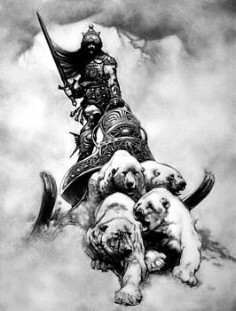 The Silver Warrior - Frank Frazetta Homage by Arno Schaetzle