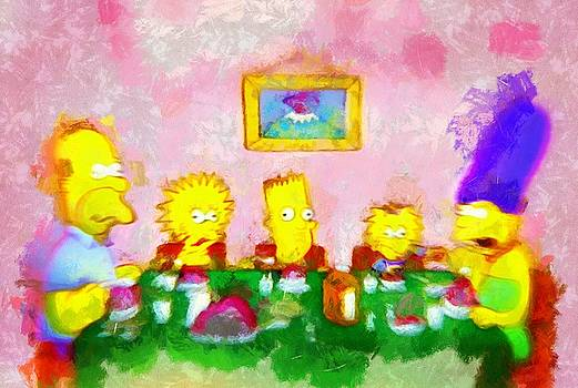 The Simpsons at Dinner by Mario Carini