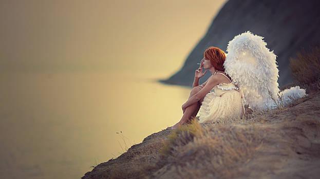 The Smoking Angel On The Cliff by Anka Zhuravleva