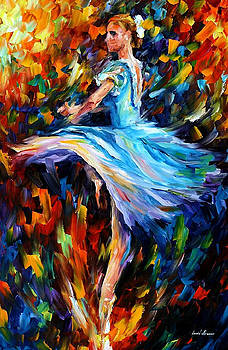 The Spinning Dancer - PALETTE KNIFE Oil Painting On Canvas By Leonid Afremov by Leonid Afremov