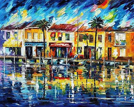 The Spirit Of Miami - PALETTE KNIFE Oil Painting On Canvas By Leonid Afremov by Leonid Afremov