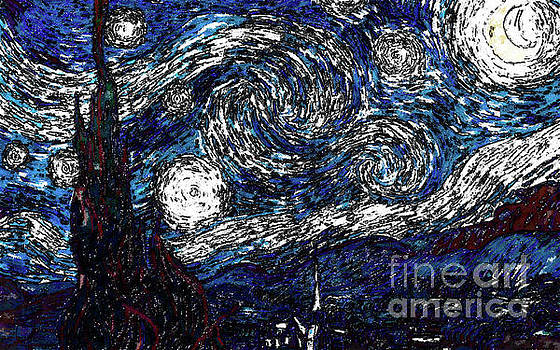 The Starry Night in Blue by D Fessenden