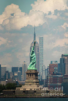 Statue of Liberty and Empire State Building by Zawhaus Photography
