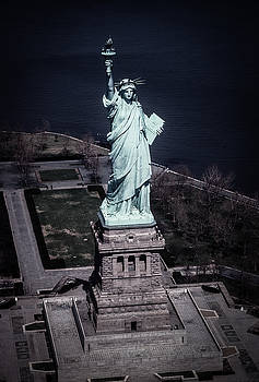 The Statue of Liberty in New York Arial View by John Brink