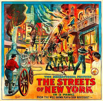 Peter Ogden - The Streets of New York Firefighting Poster circa 1920