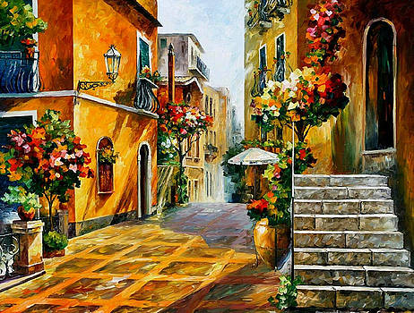 The Sun Of Sicily - PALETTE KNIFE Oil Painting On Canvas By Leonid Afremov by Leonid Afremov