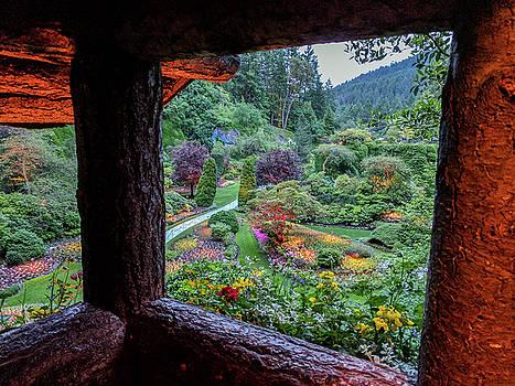 Michael Bessler - The Sunken Garden from lookout at dusk