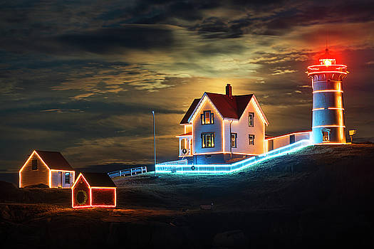 The supermoon rising over the Nubble Lighthouse York Maine Glow by Toby McGuire