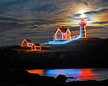 The supermoon rising over the Nubble Lighthouse York Maine Reflection by Toby McGuire
