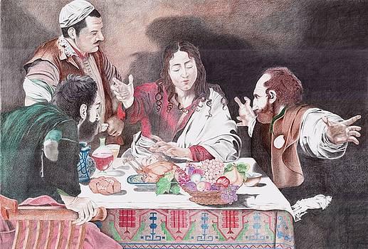 The Supper at Emmaus Caravaggio by Bernardo Capicotto