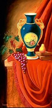 The Teal Vase on a Red Cloth by Jeanene Stein