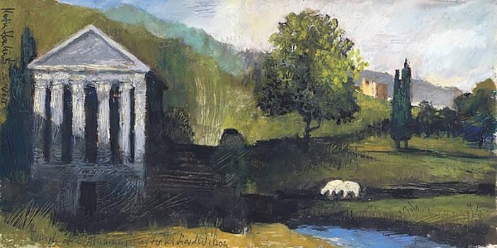 Martin Stankewitz - The temple of Clitumnus,oil pastel sketch after Richard Wilson