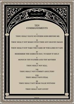The Ten Commandments on Art Deco Celtic Arch by Desiderata Gallery