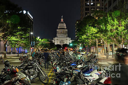 Herronstock Prints - The Texas State Capitol stands watch over the motorcycles lined