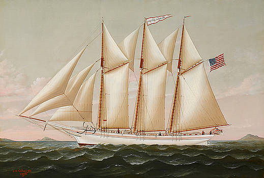 The Three Masted Schooner Joseph G Dean Headed out to Sea by Charles Sidney Raleigh