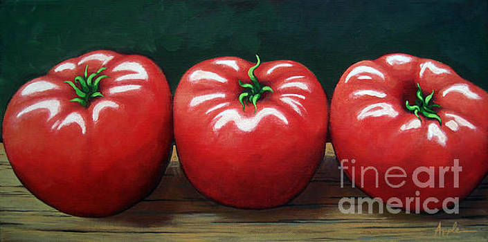 The Three Tomatoes - realistic still life food art by Linda Apple