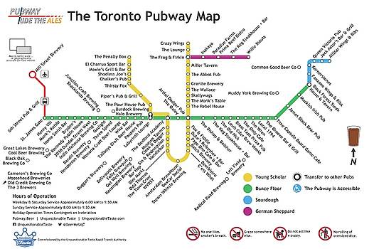 The Toronto Pubway Map by Unquestionable Taste