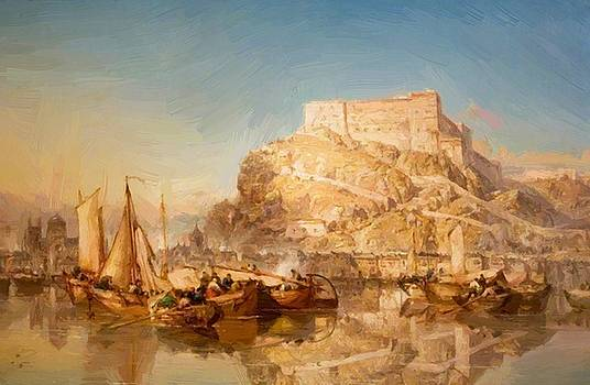 Webb James - The Town And Fortress Of Huy Belgium On The River Meuse 1880