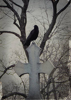 The Tree Behind The old Cross And Crow by Gothicrow Images