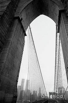 The Twin Towers through the Brooklyn Bridge, September 2001 by Michael Manning