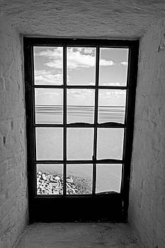 Toby McGuire - The view from the lighthouse window Bill Baggs Lighthouse Key Biscayne Florida Black and White