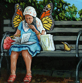 The Visiting Angel - fantasy painting by Linda Apple