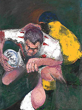 The Warrior Martin Johnson by  Rugby Prints medium print