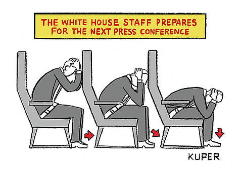 The White House Staff Prepares for the Next Press Conference by Peter Kuper
