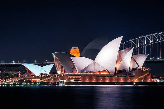 The White Shell Roofs of Sydney Opera House at Night by Daniela Constantinescu