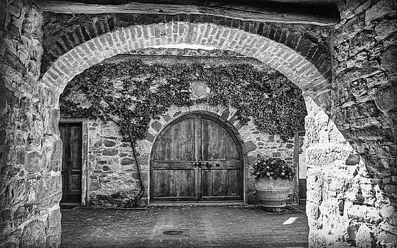 The Winery's Entrance B/W by Hanny Heim