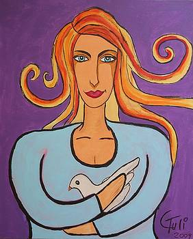 The Woman And The Dove Of Peace by Claudia Tuli