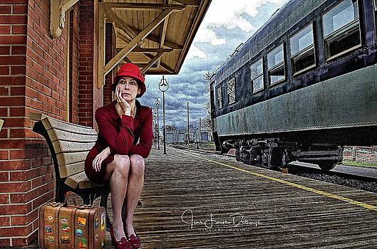 The woman in red by Jean-Louis Delhaye