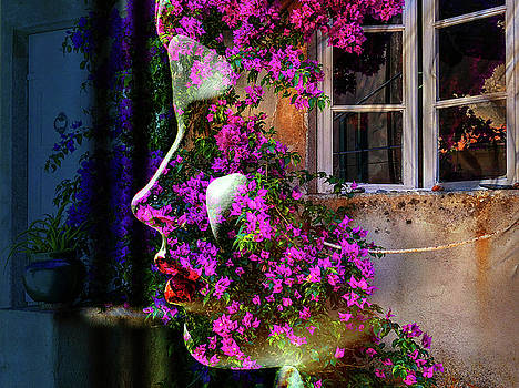The woman with the bougainvillea by Gabi Hampe