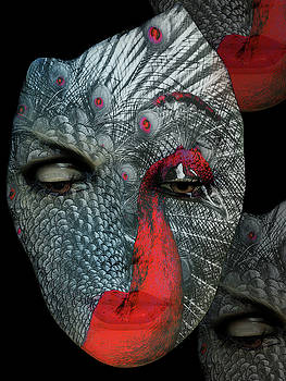 The woman with the red peacock by Gabi Hampe