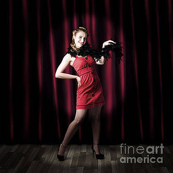 Theater Performer In Front Of Red Stage Curtains by Jorgo Photography - Wall Art Gallery