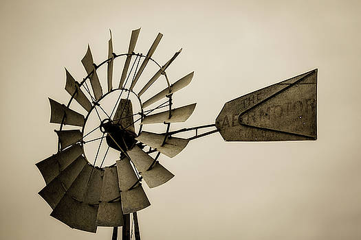 There is a Season - Windmill in Sepia Tone at Iowa Farm by Southern Plains Photography