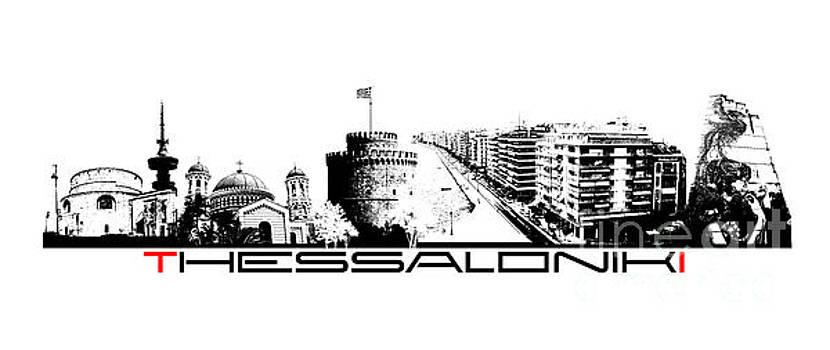 Justyna Jaszke JBJart - Thessaloniki skyline city black
