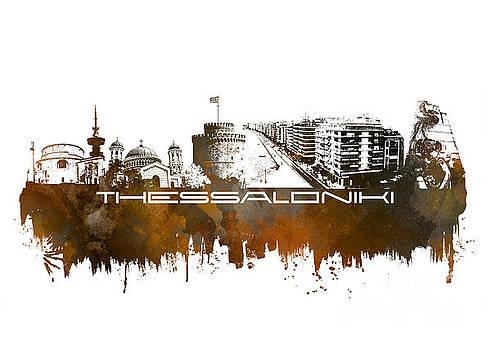 Justyna Jaszke JBJart - Thessaloniki skyline city brown