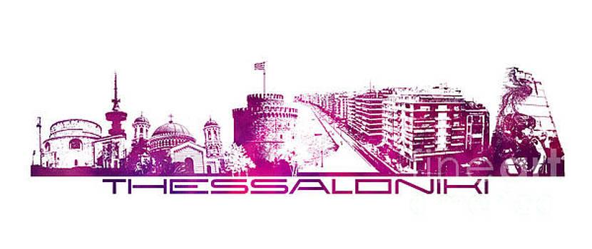 Justyna Jaszke JBJart - Thessaloniki skyline city purple