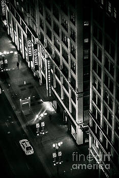 They walk alone Film Noir high angle photo  of State and Lake Street at night Chicago Illinois by Linda Matlow