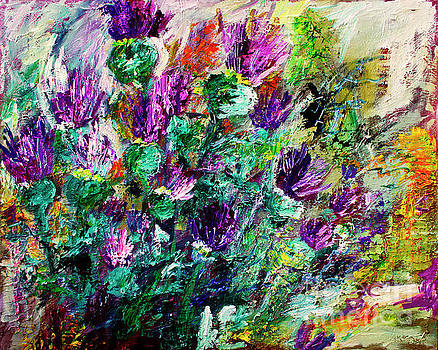 Ginette Callaway - Thistles Impressionist Oil Painting