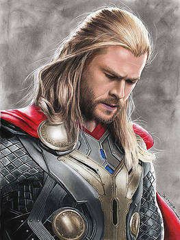 Thor Drawing by Jasmina Susak