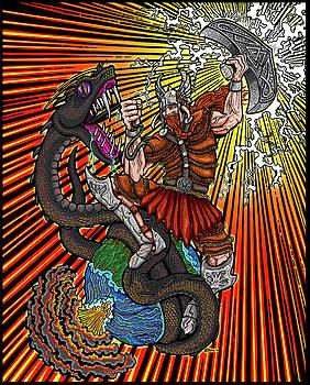 Thor vs Jormungandr by Thome Designs