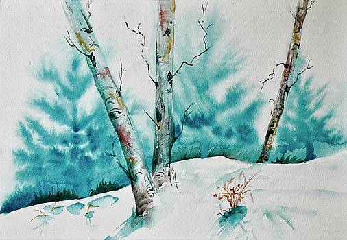 Three Aspens On A Snowy Slope by Beverley Harper Tinsley
