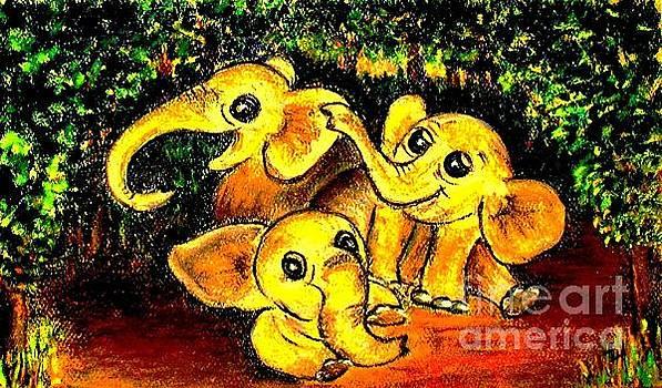 Hazel Holland - Three Baby Elephants