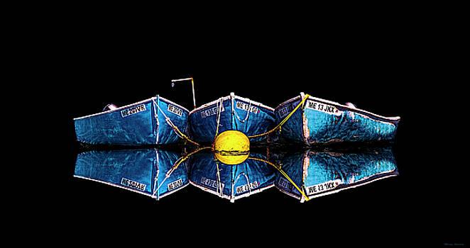 Three Blue Skiffs by Marty Saccone