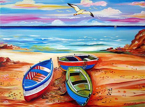 Three boats and a seagull by Roberto Gagliardi