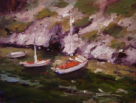 Three boats in Les Calanques France by R W Goetting